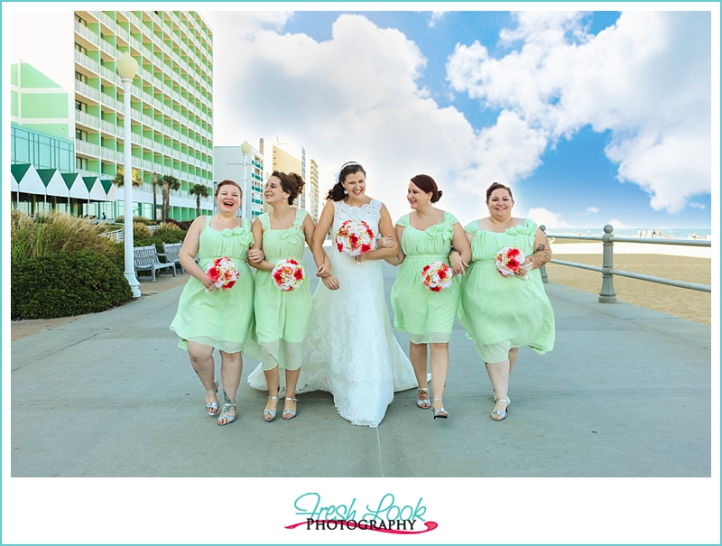 green and coral beach wedding