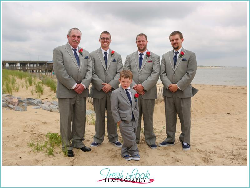 groomsmen on the beach
