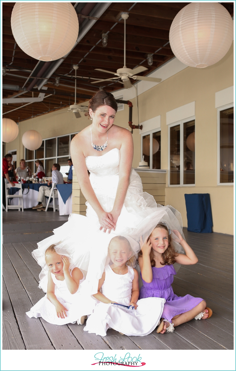 bride and little girls