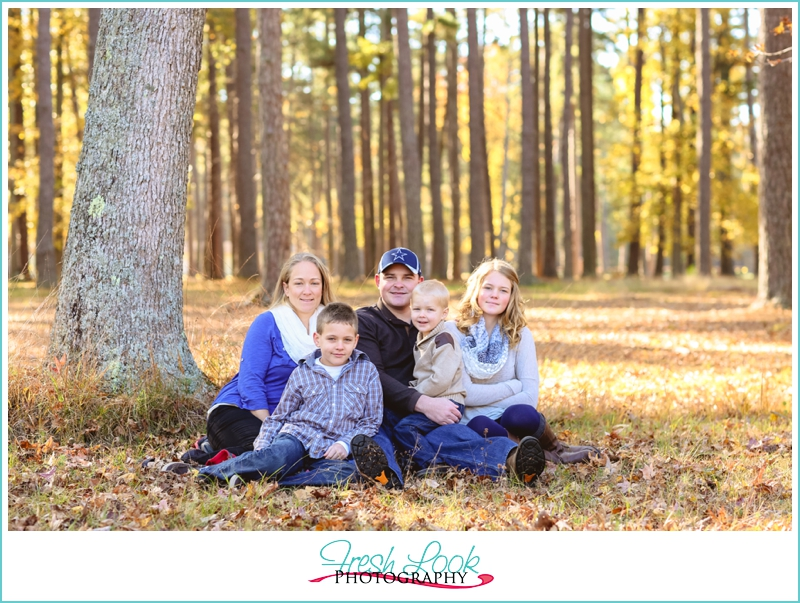 family photos in the leaves