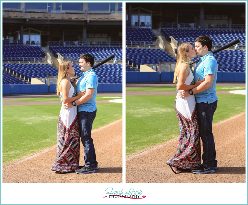 kissing on the baseball field