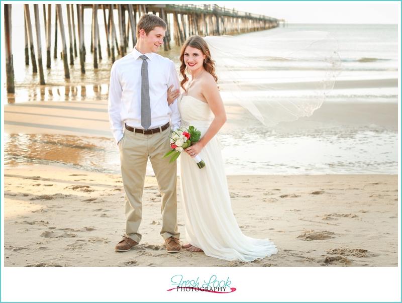 brides veil blowing