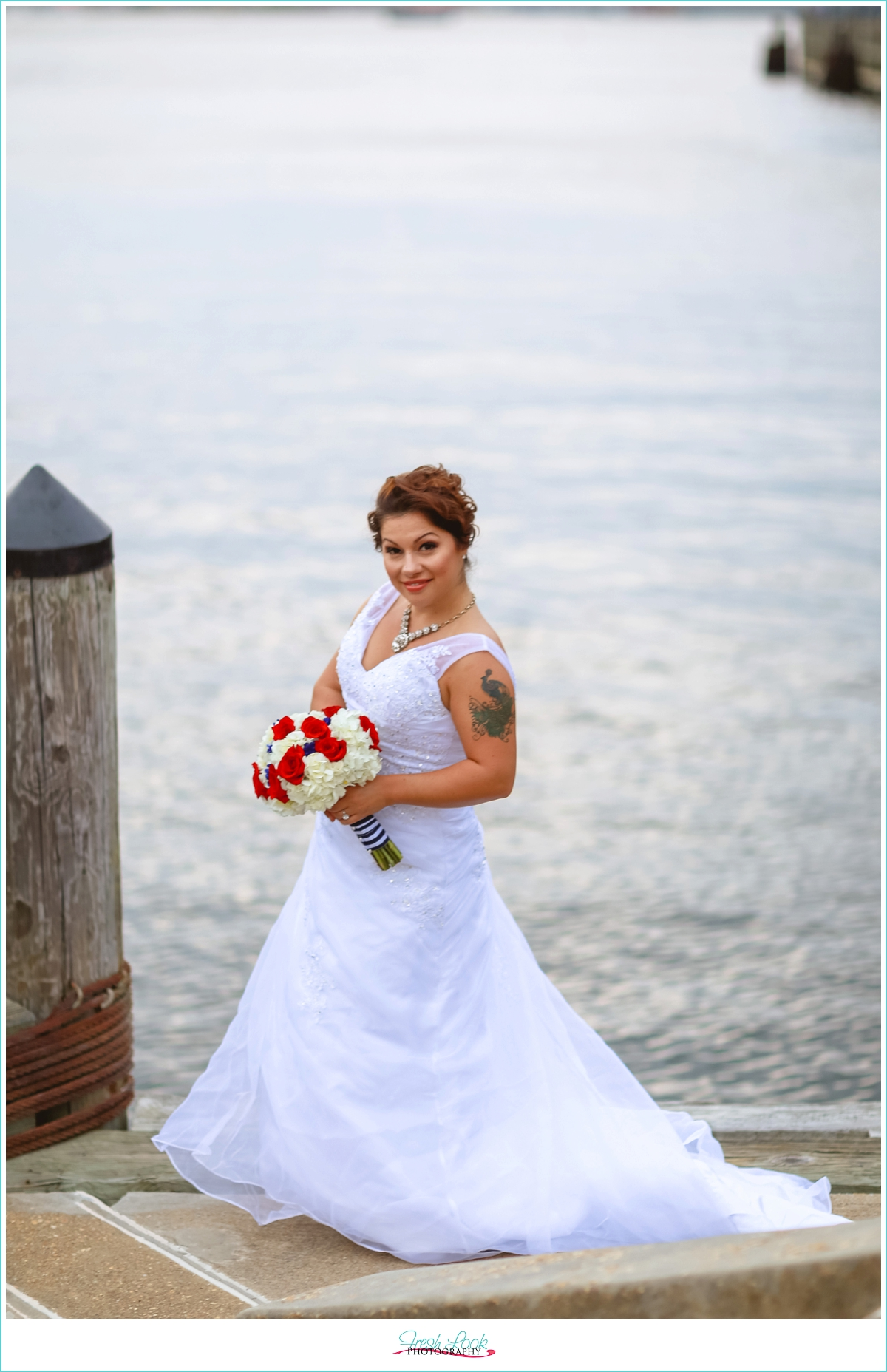 bridal session on the dock