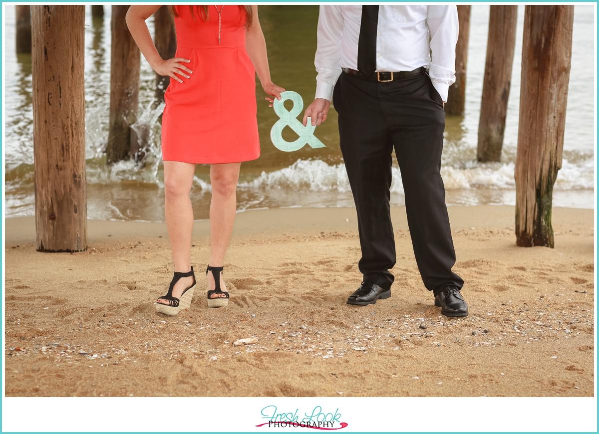 coral dress engagement shoot