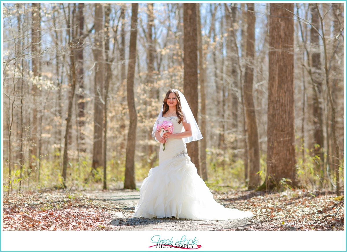 woodsy bridal session