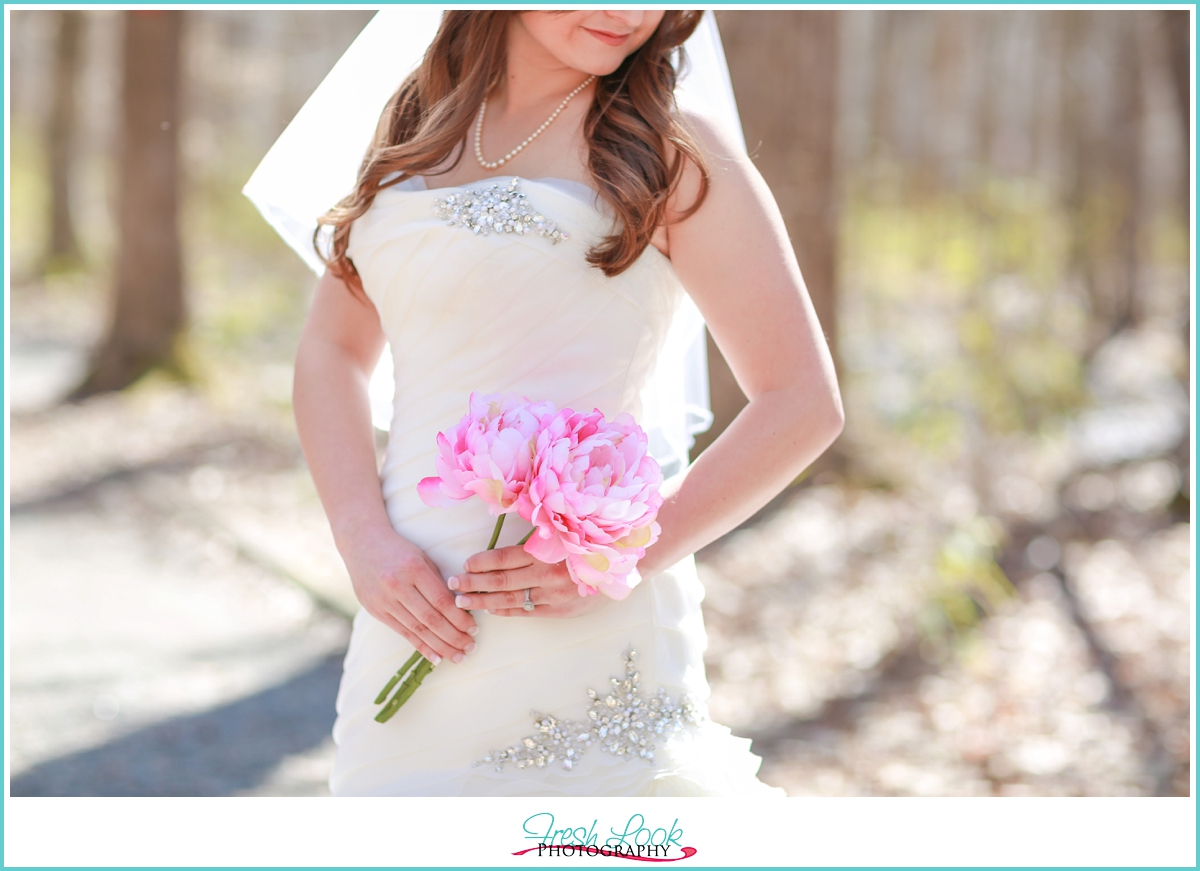 woodsy romantic bridal session
