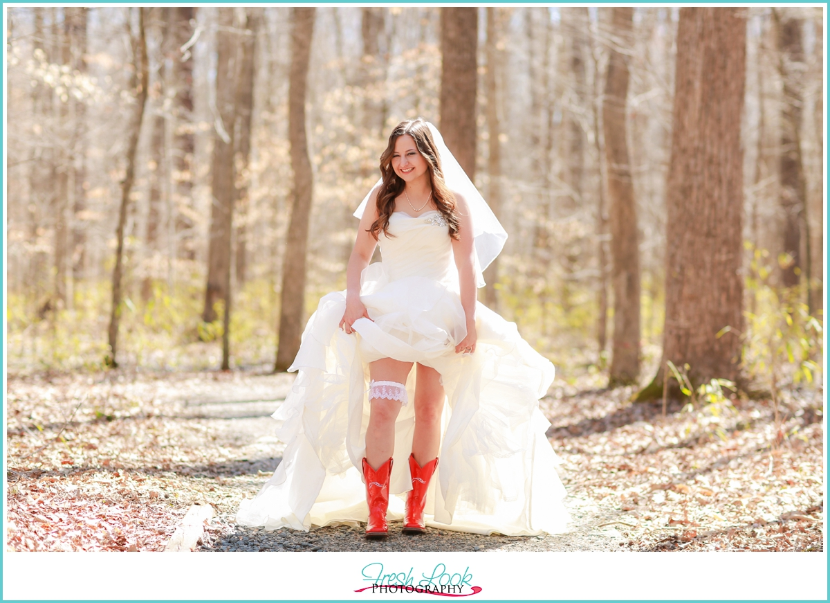 bride showing off her boots