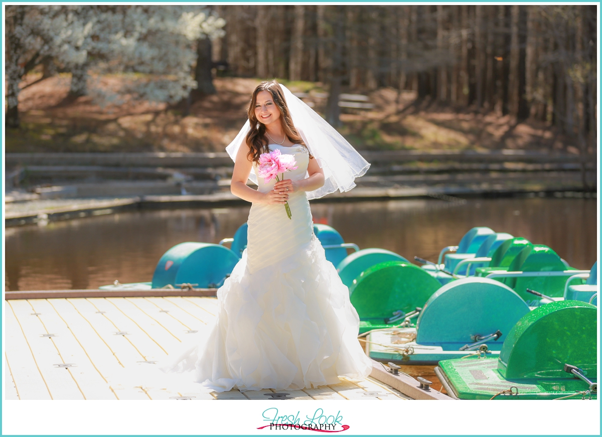 bridal portraits on the dock