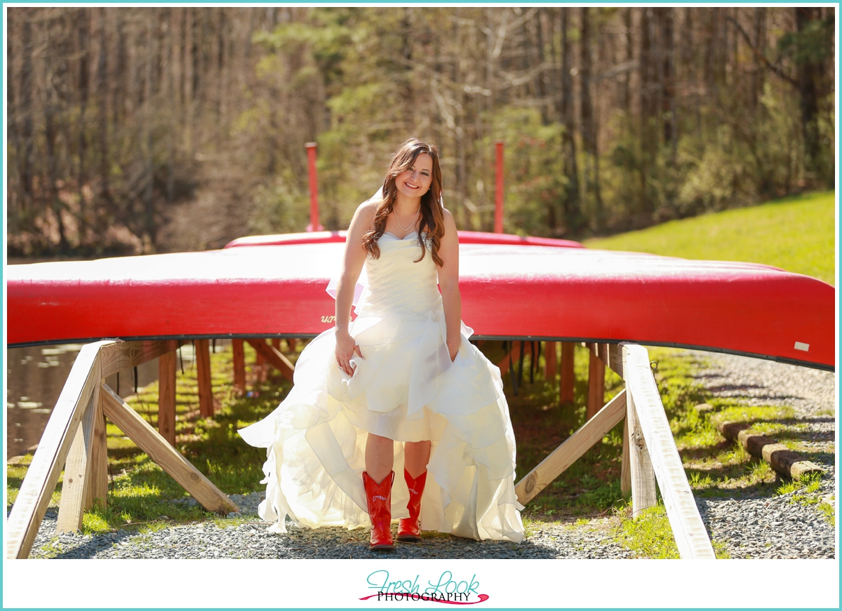 bride showing her red boots