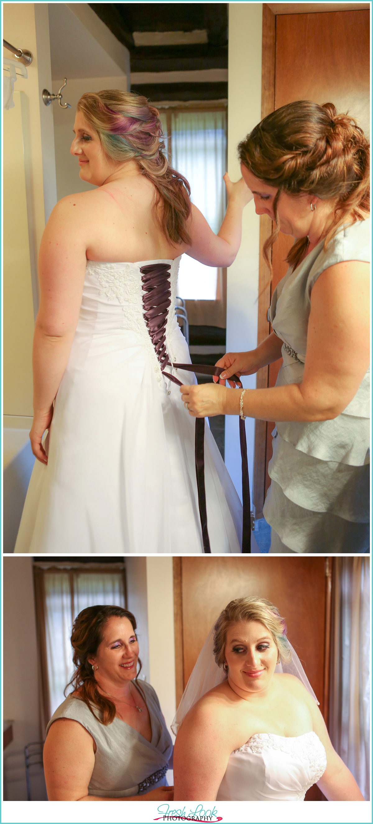 bride putting on dress