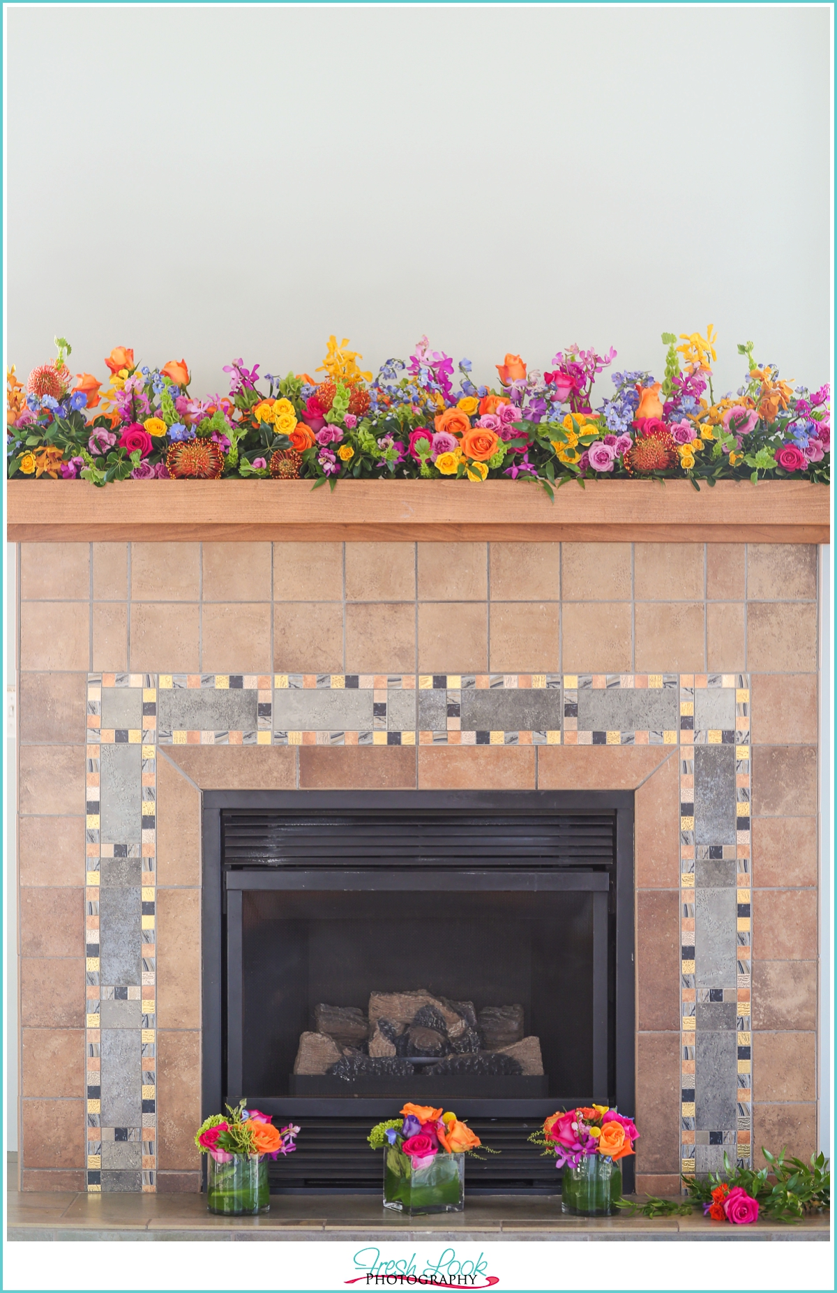 floral fireplace decor