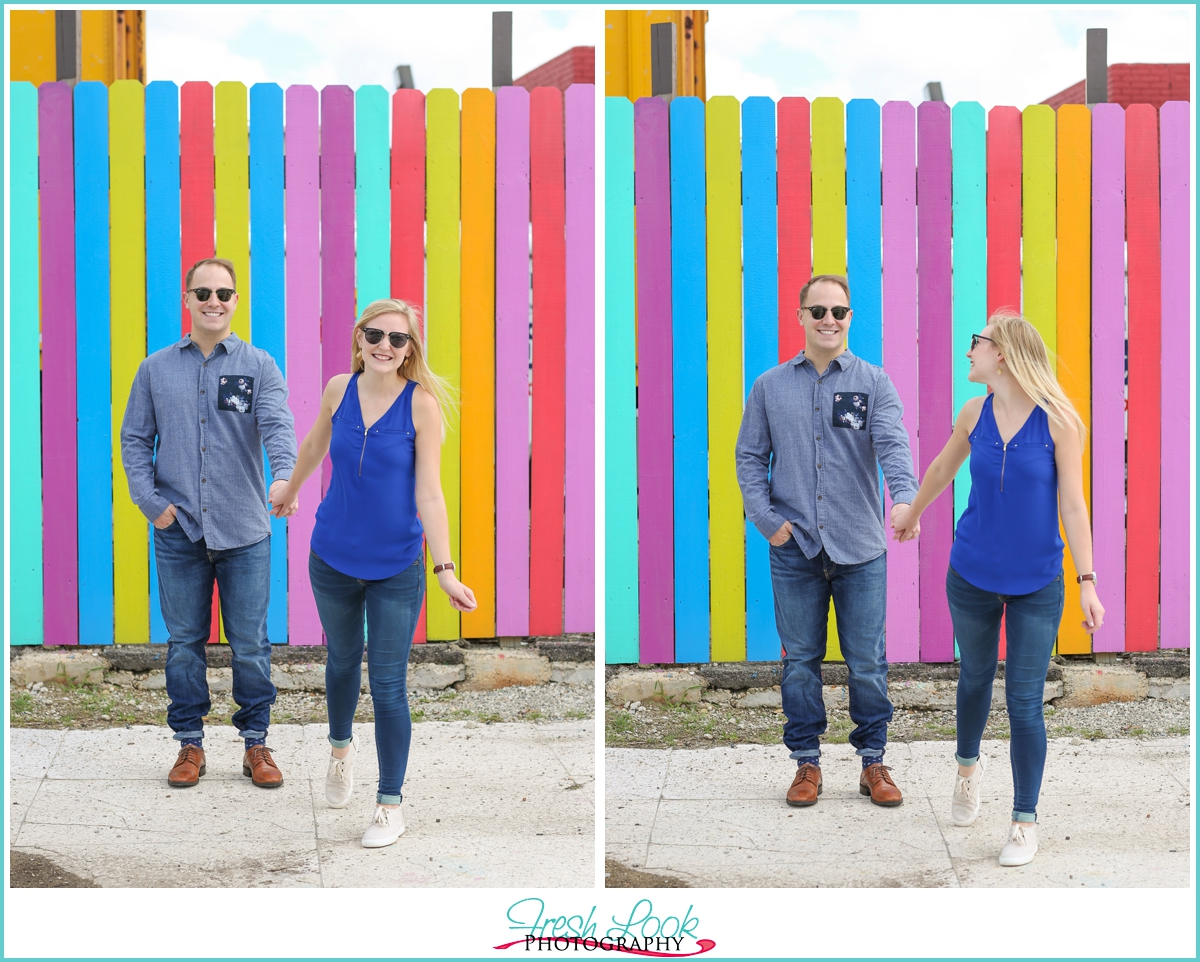 playful engagement pictures