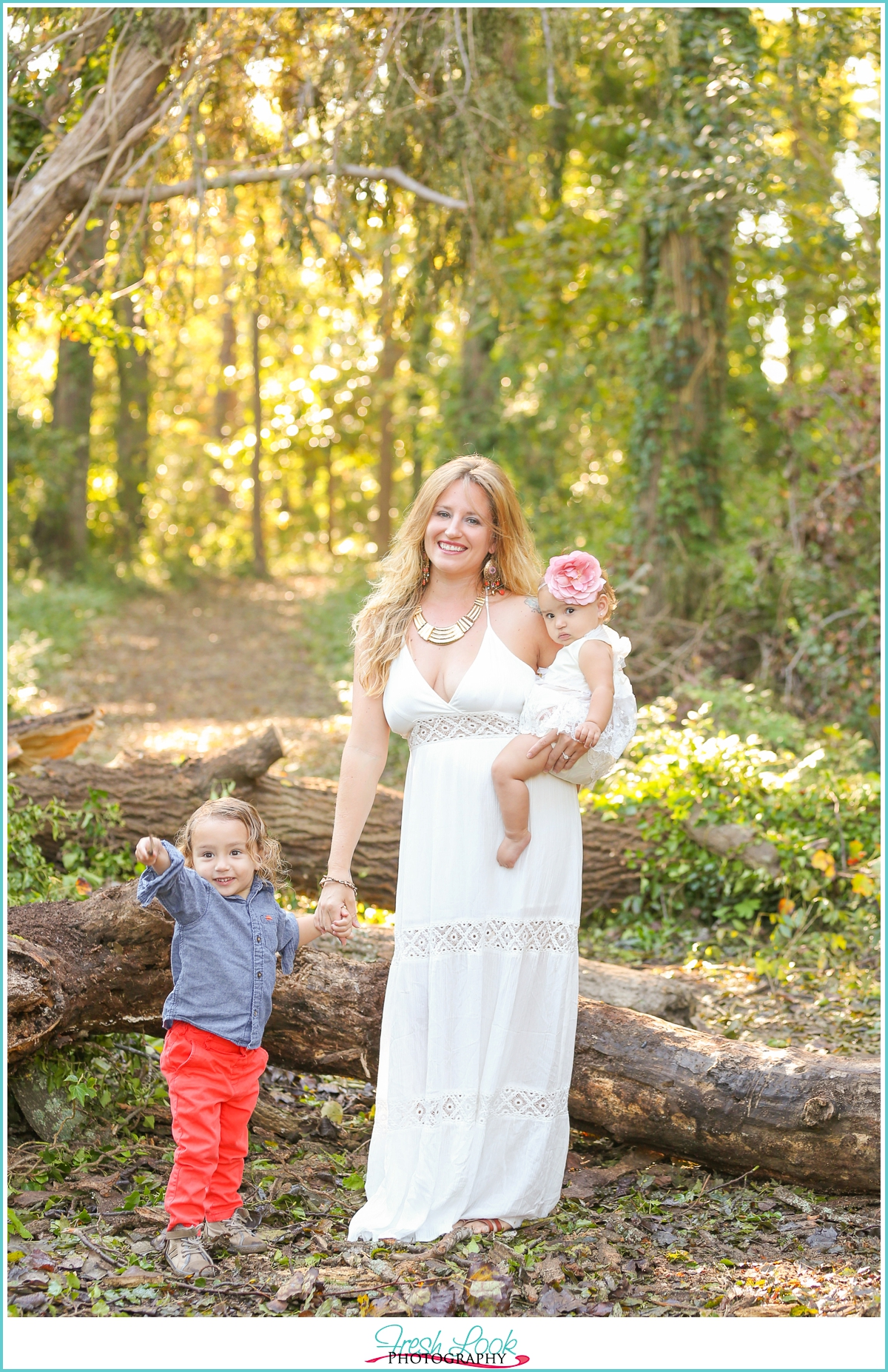 family photos in the woods