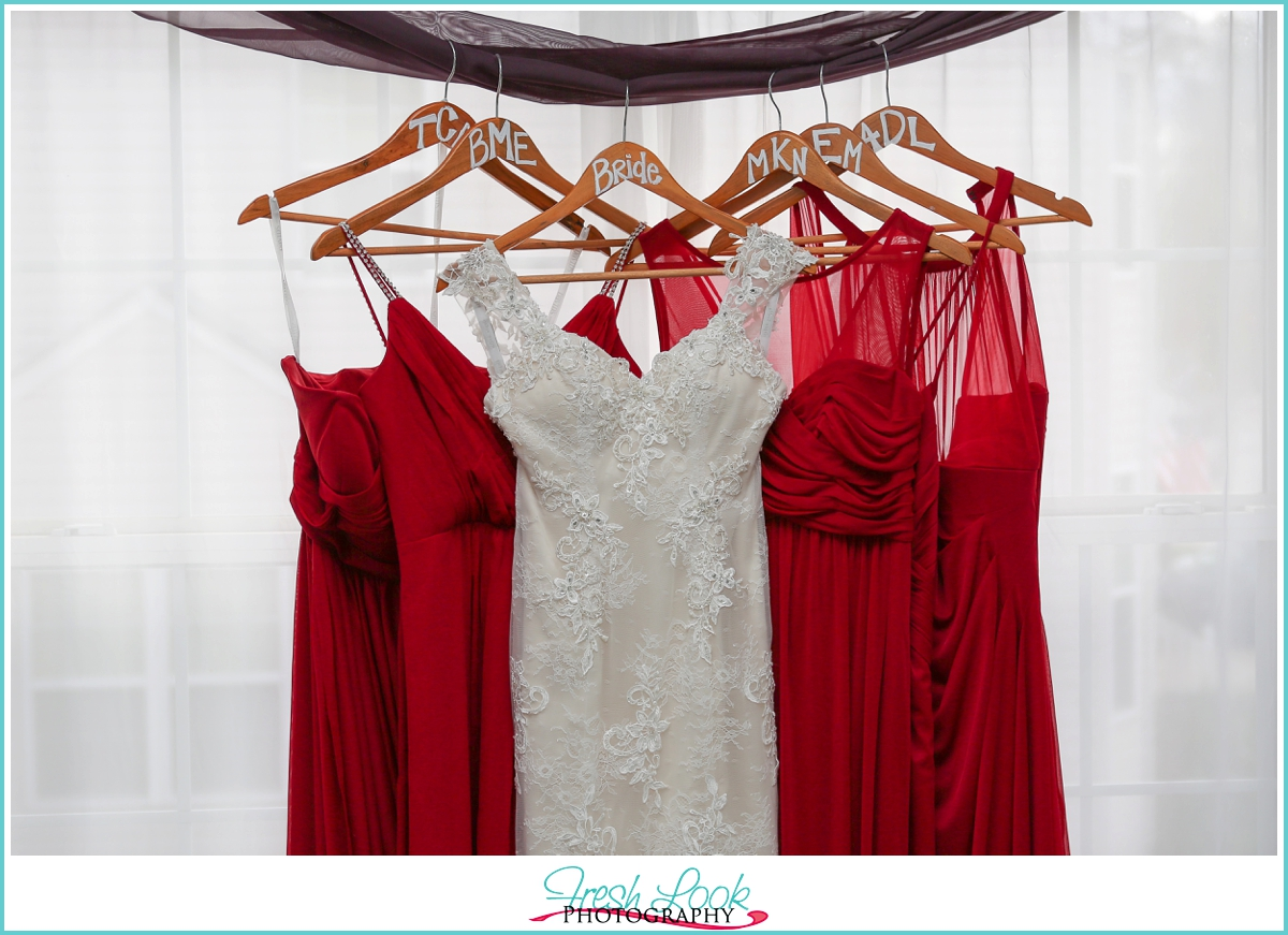 bridesmaid dresses and wedding gown