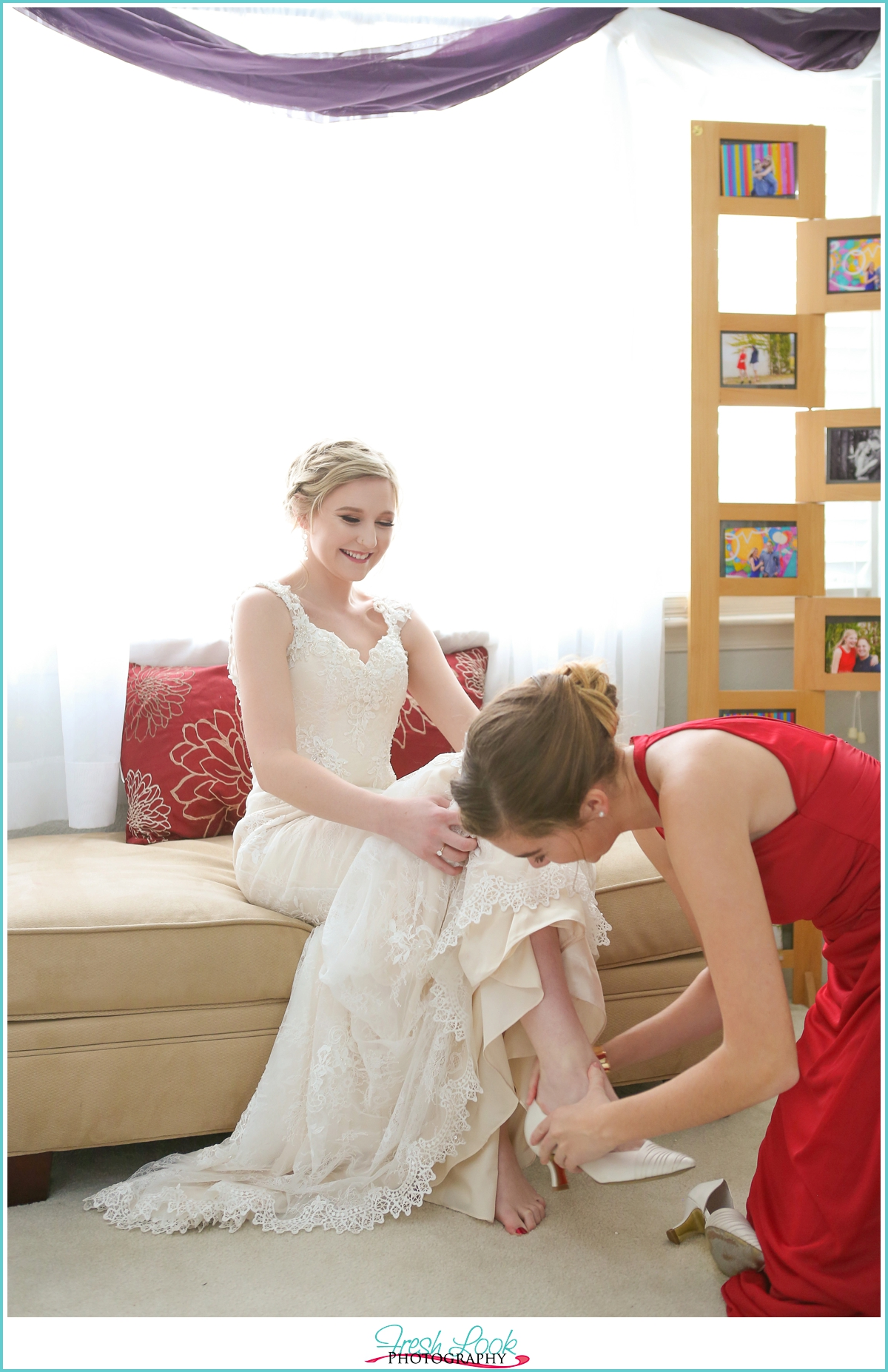 putting bridal shoes on