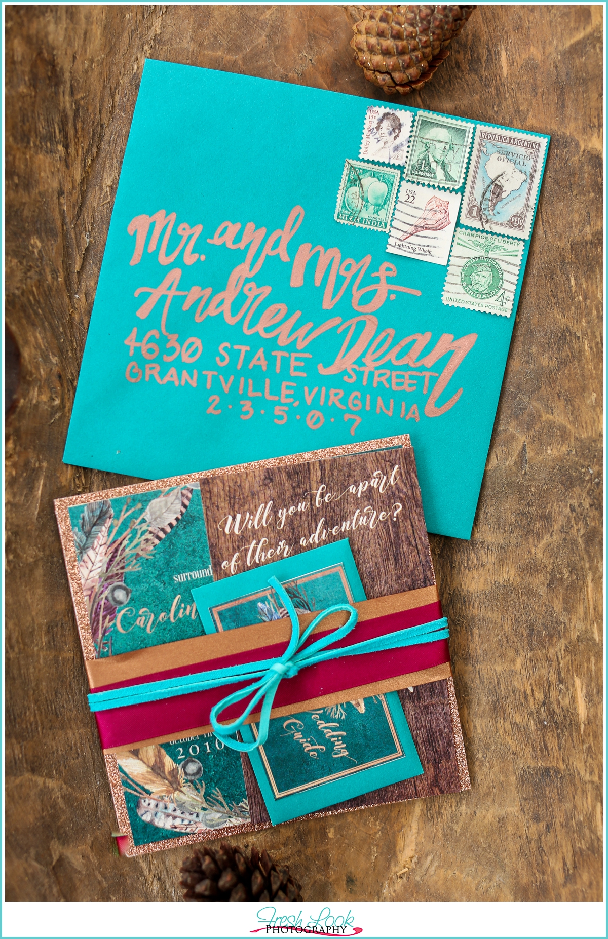 teal stationery suite
