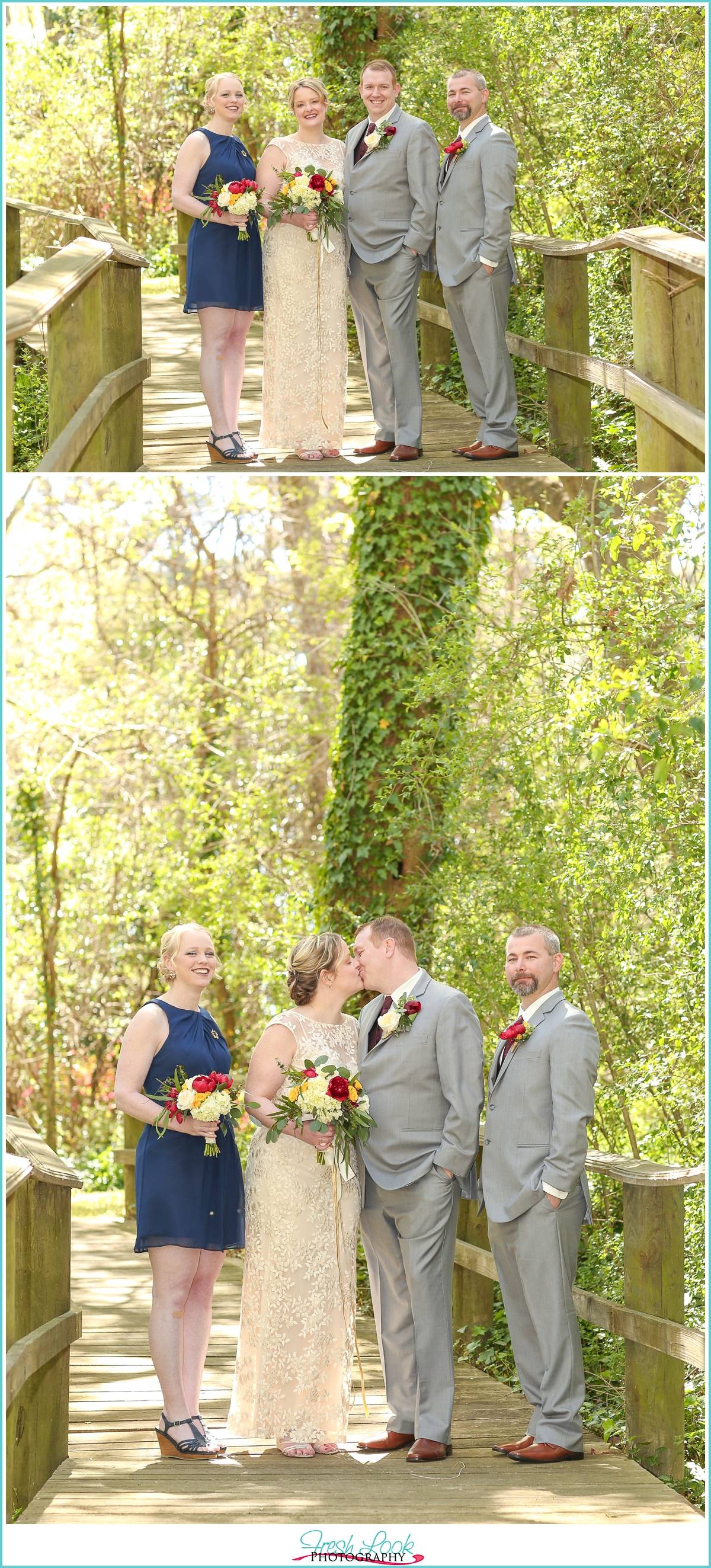 woodsy bridal party photo