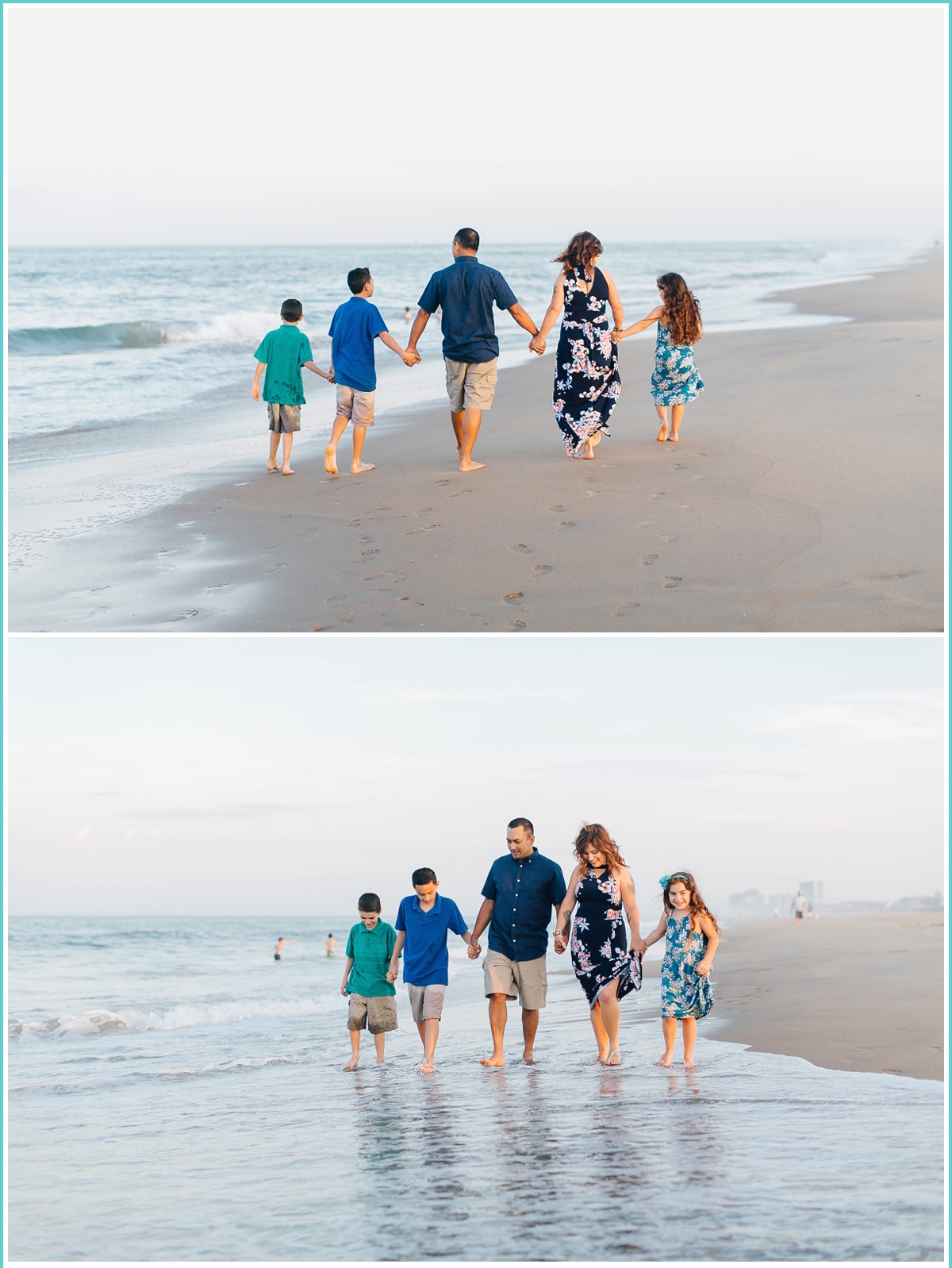 walking together on the beach