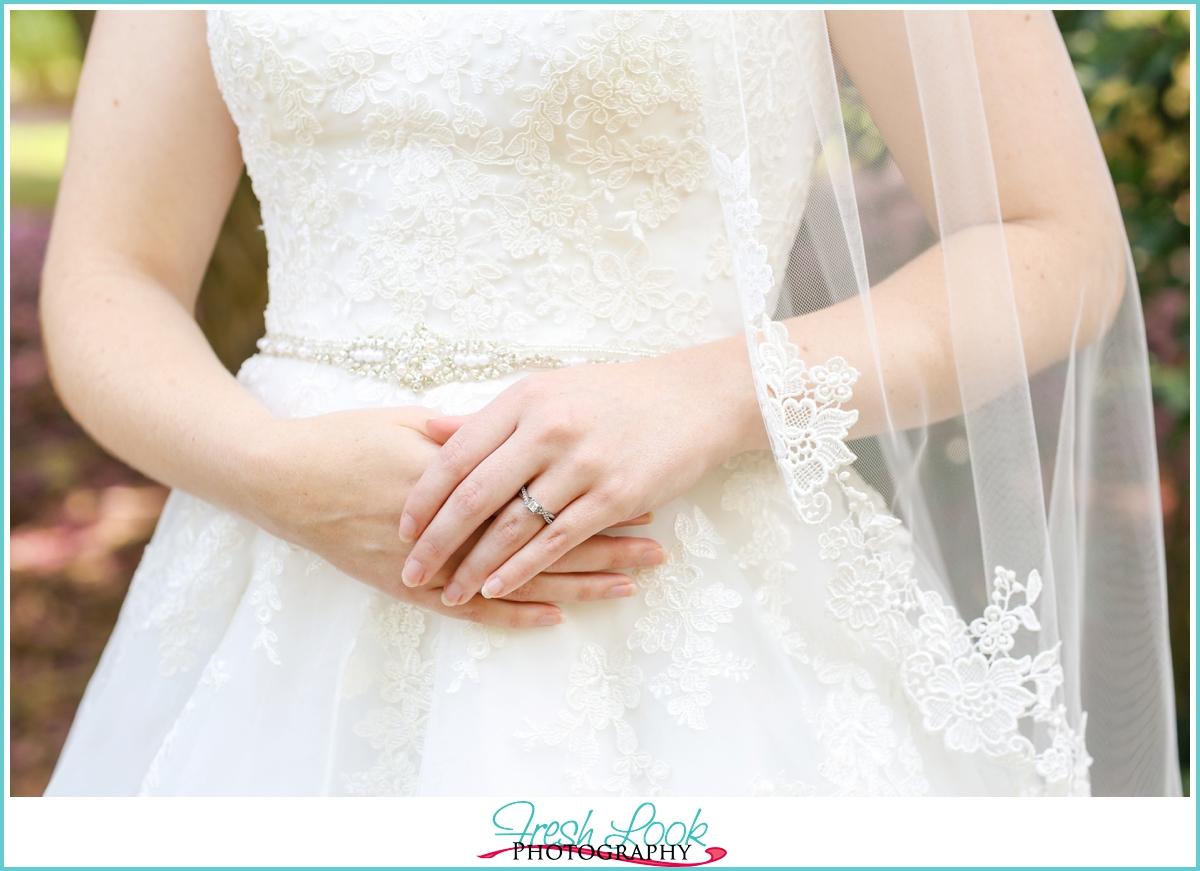elegant bridal gown details