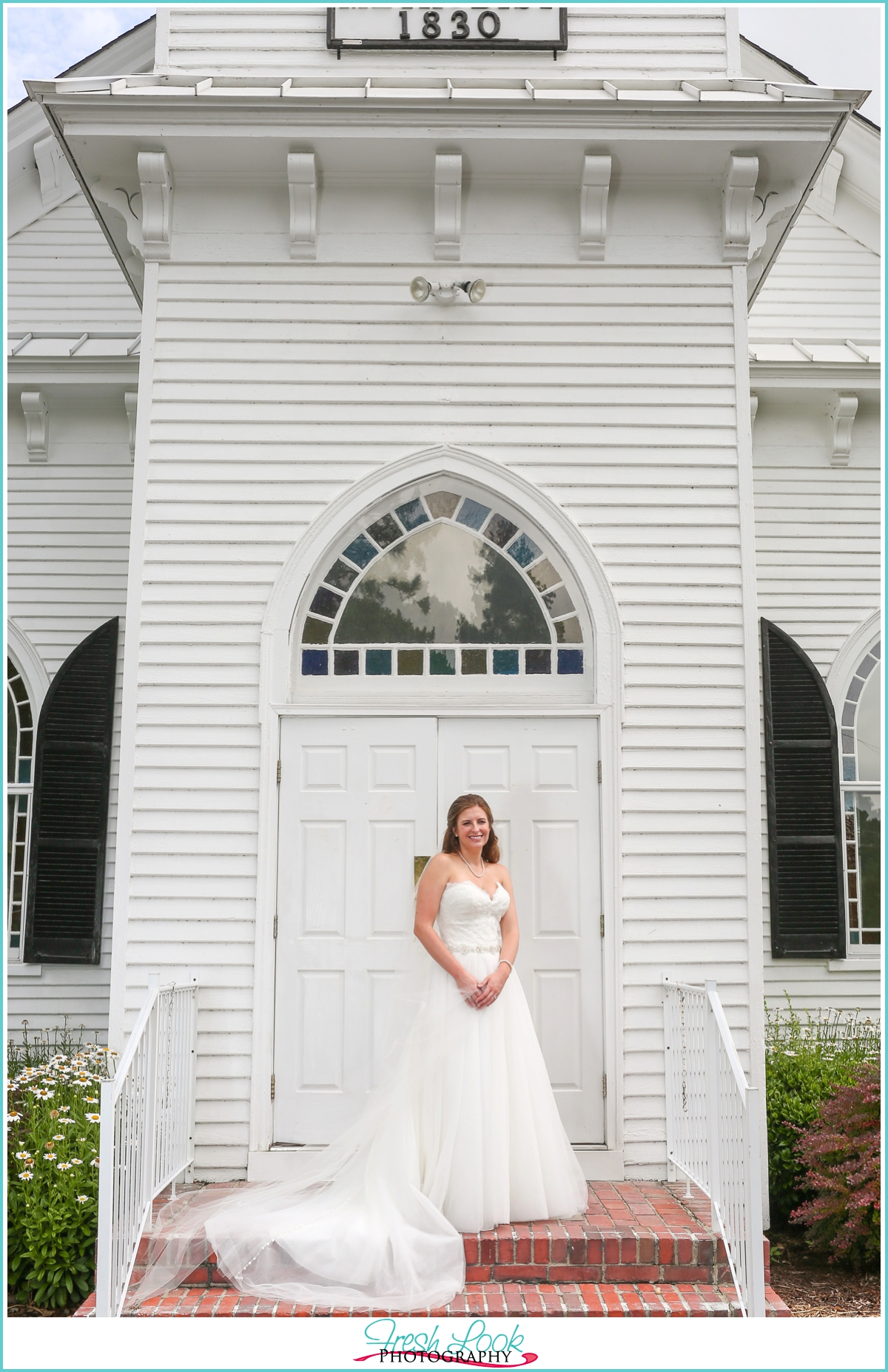 outdoor church bridal pictures