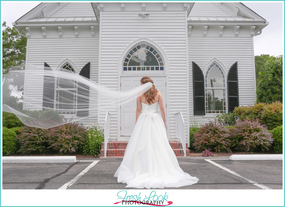 veil blowing in the wind wedding