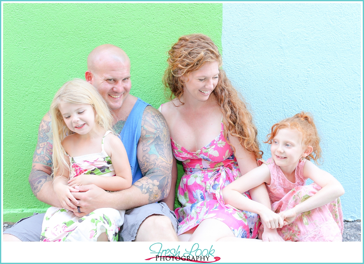 bright colorful family photos