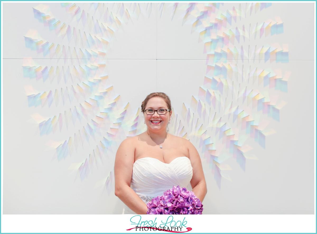 bride with artwork
