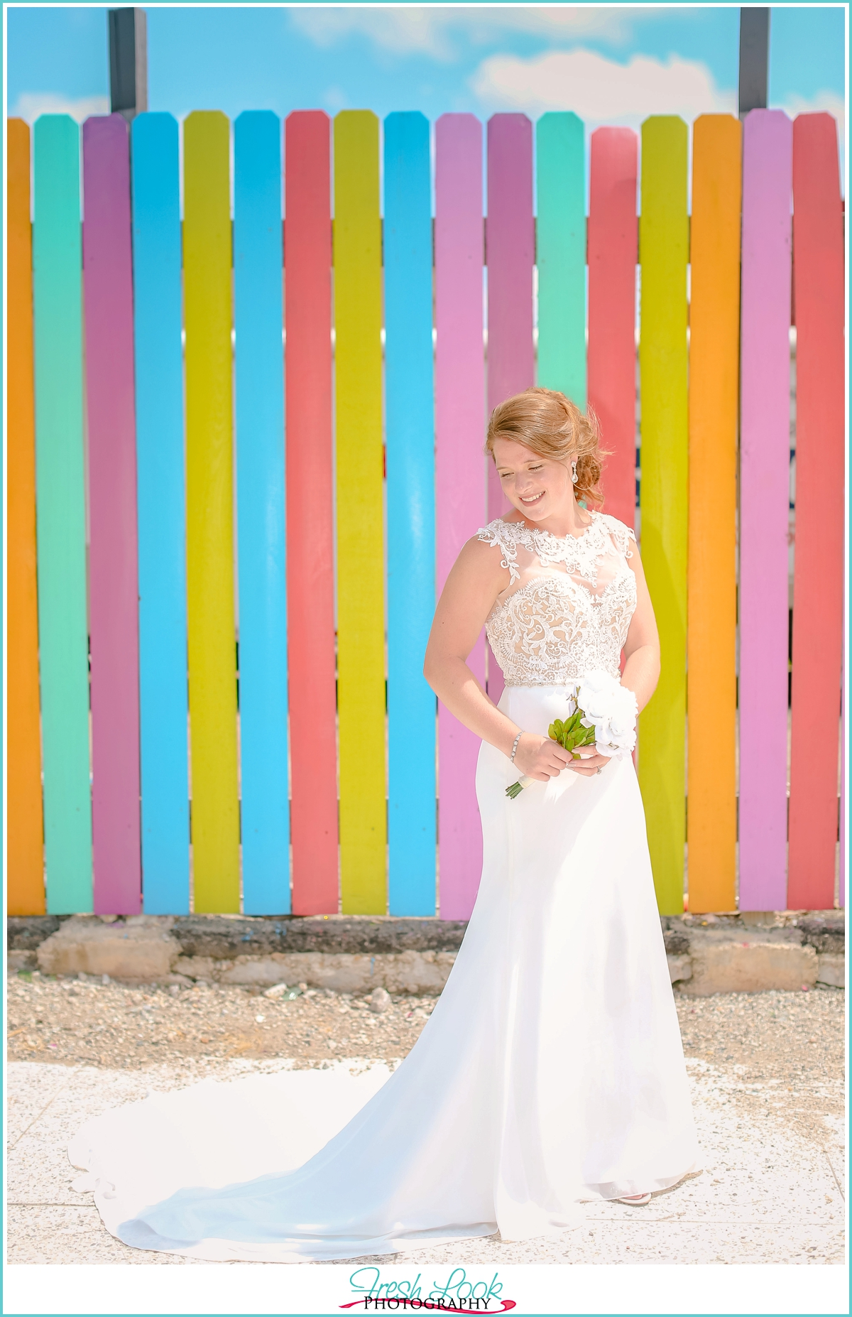 bright and colorful bridal session