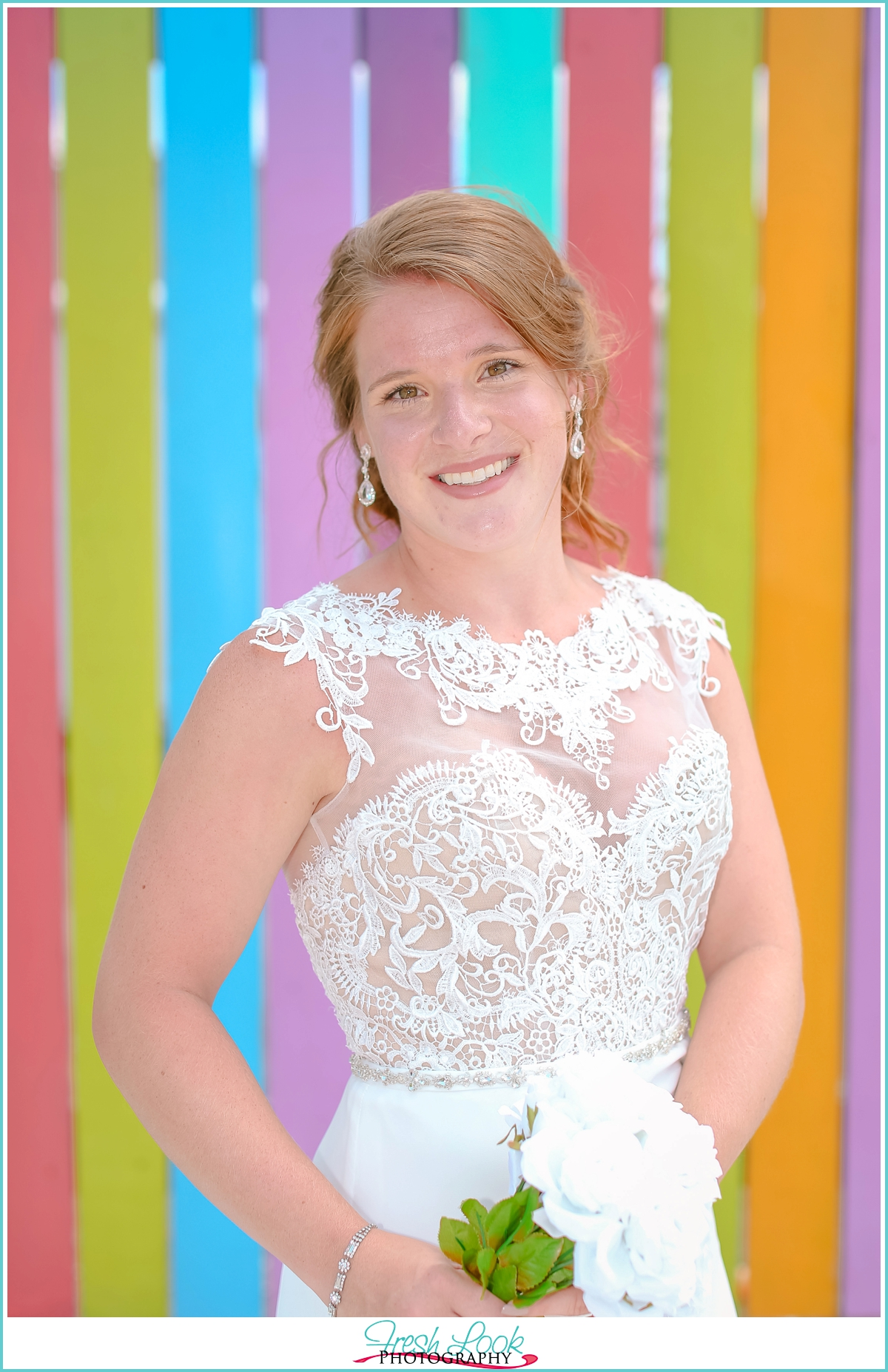 beautiful bride colorful background