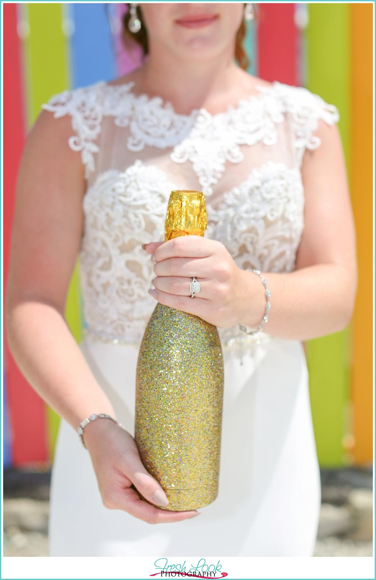 pop the champagne bridal photos