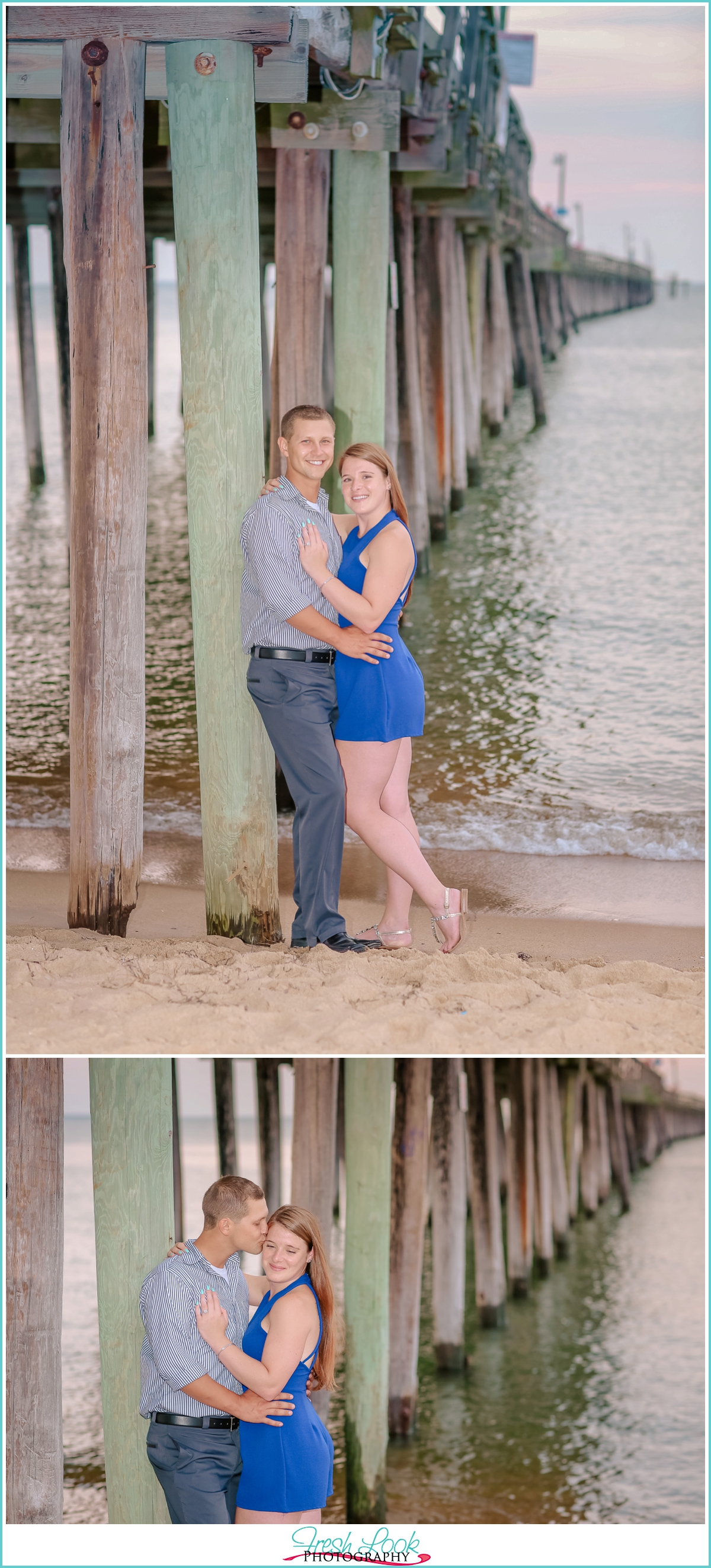 sunset pier engagement photos