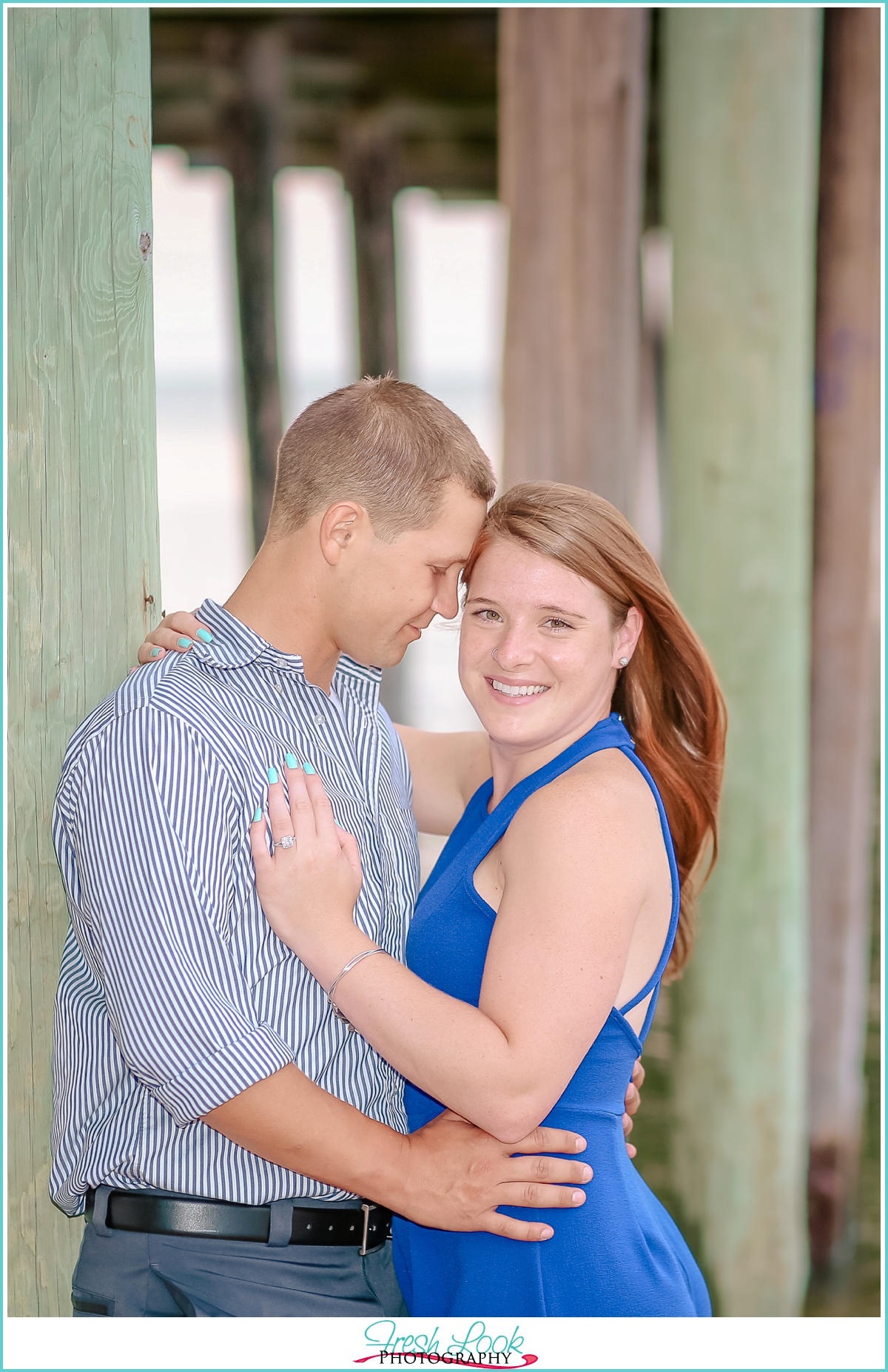 romantic pier engagement session