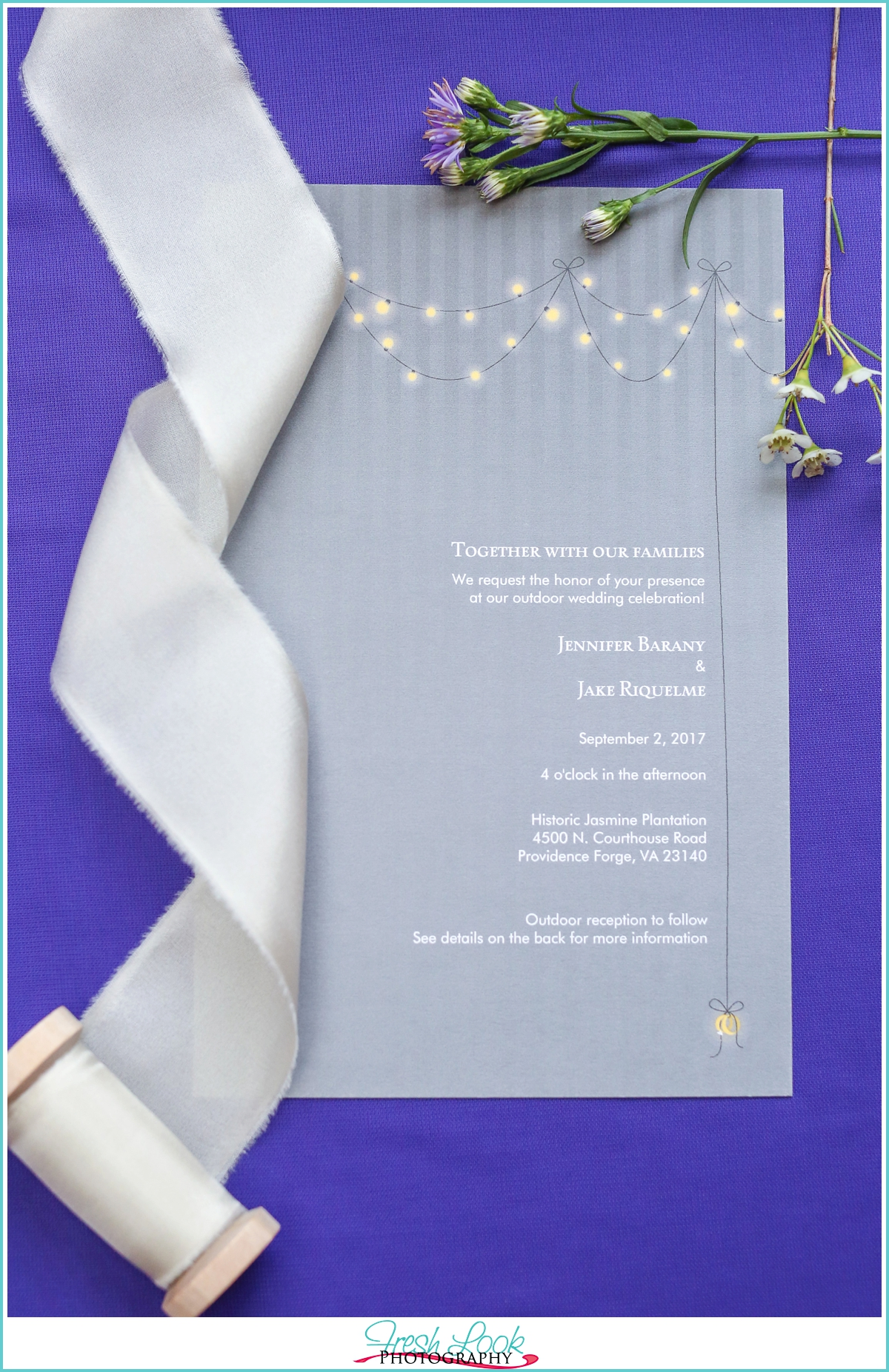 Purple and gray wedding invitation