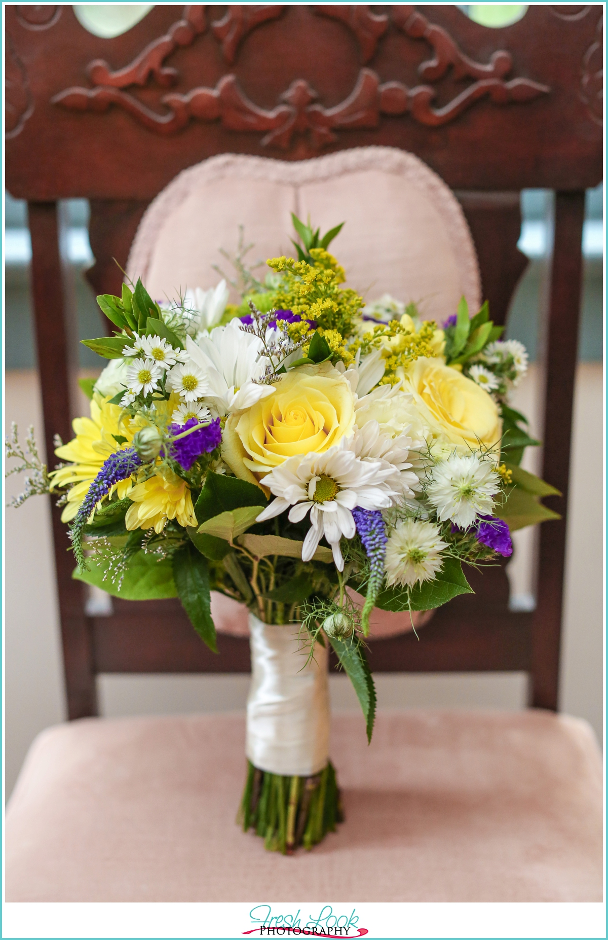 yellow and purple wedding bouquet