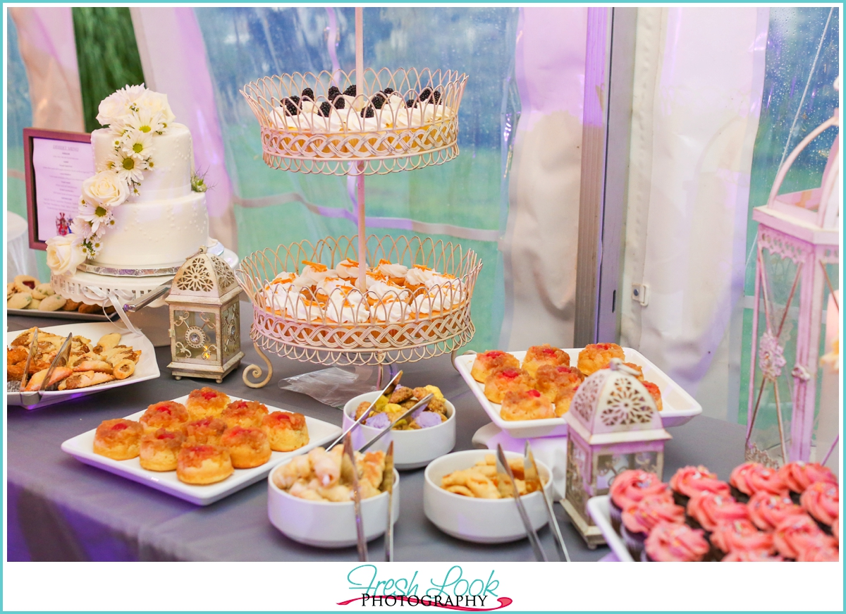 wedding reception dessert table display