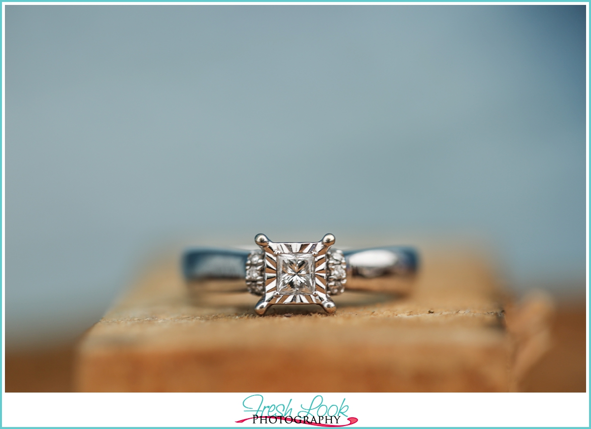 square cut white gold engagement ring
