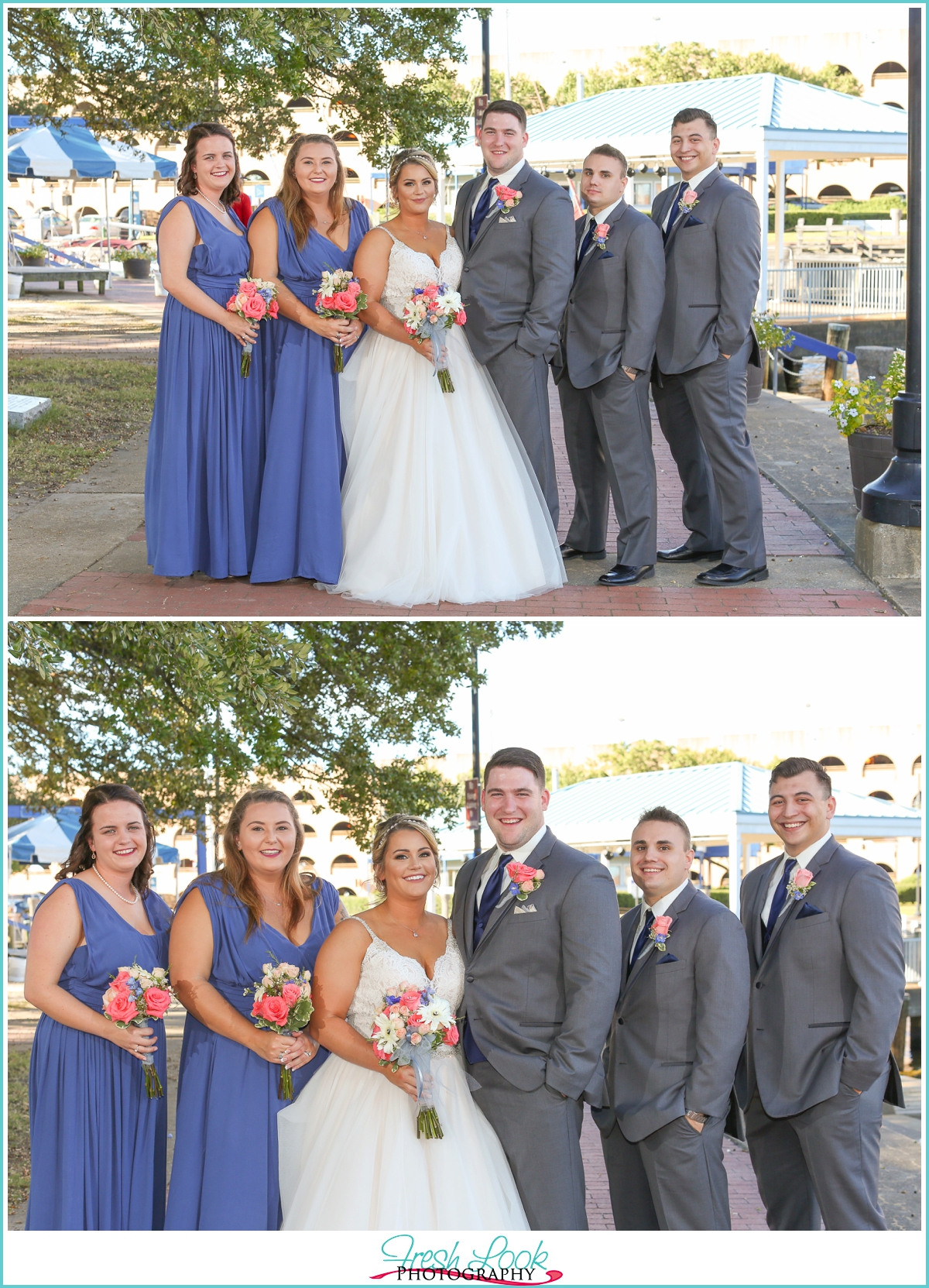 blue and coral wedding colors