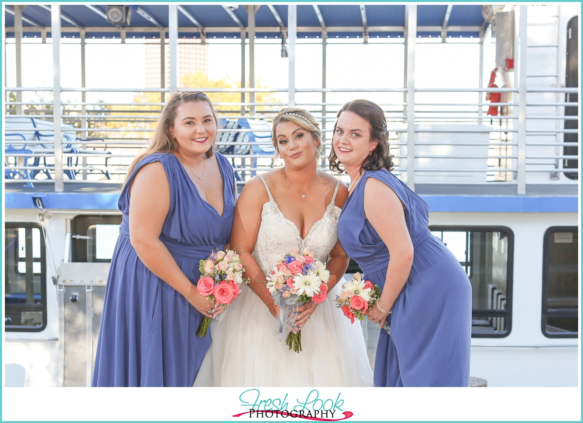 bridesmaids goofing off together