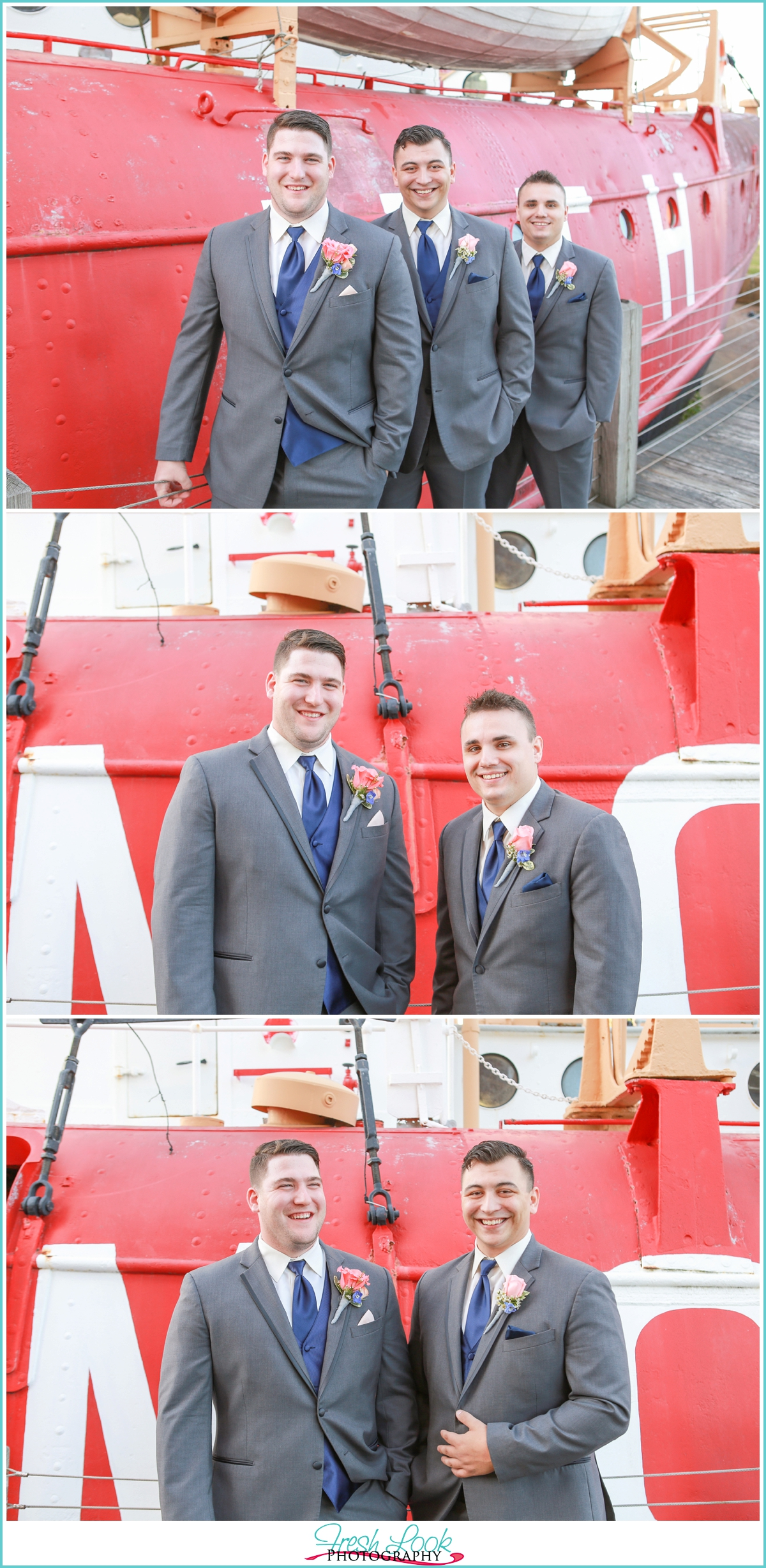 groomsmen posing with a boat