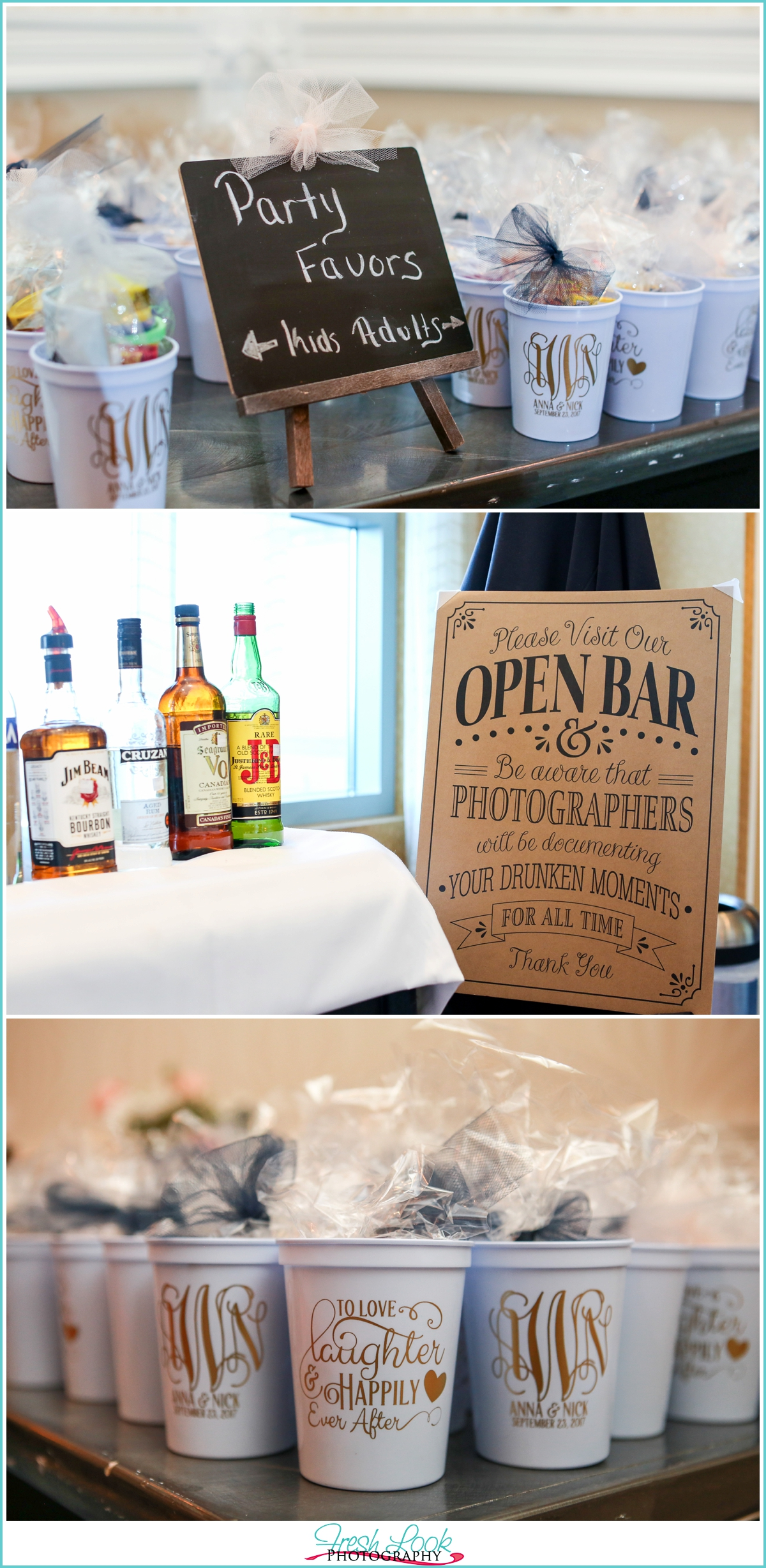 reception details open bar sign and cup favors