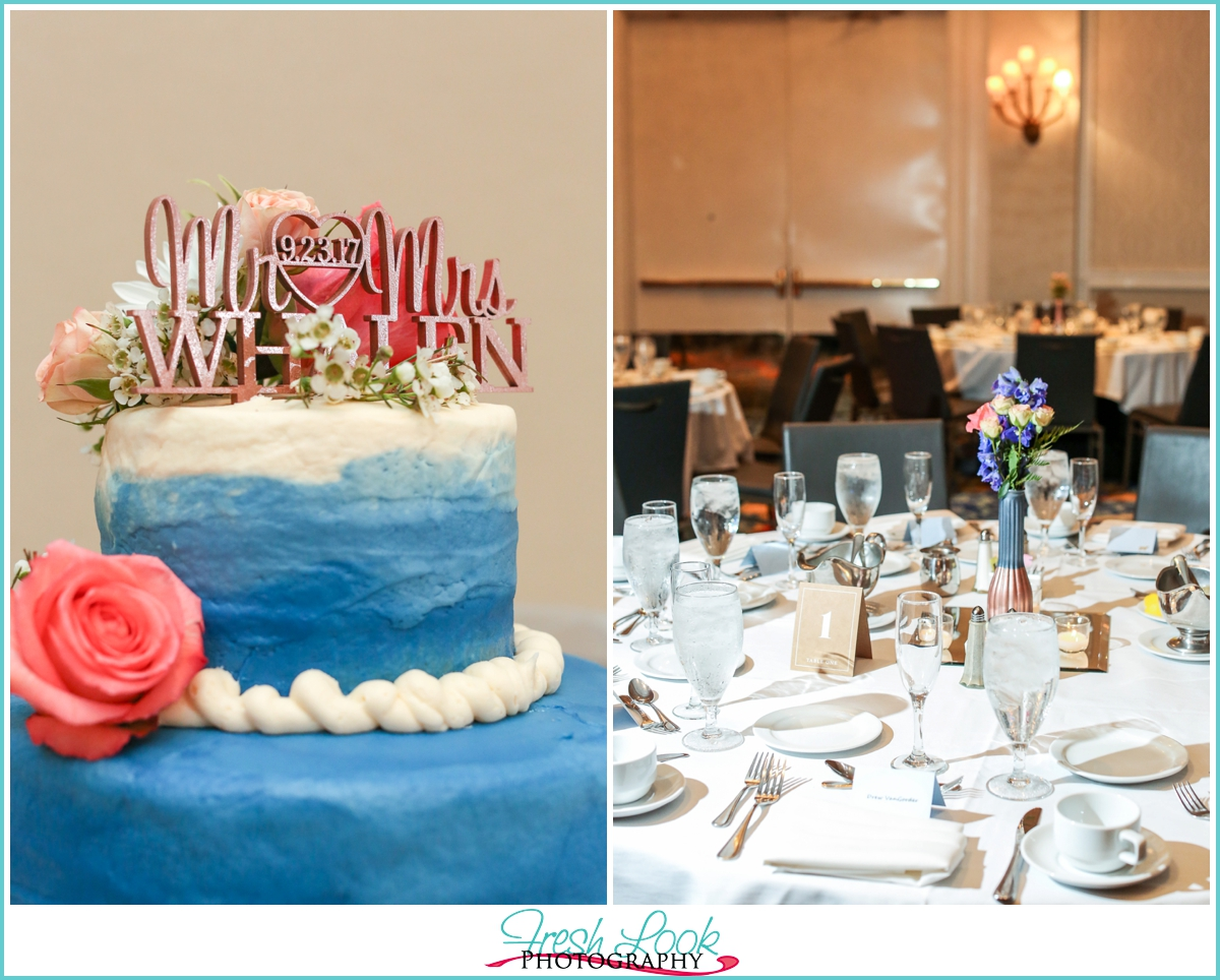 wedding cake topper and reception