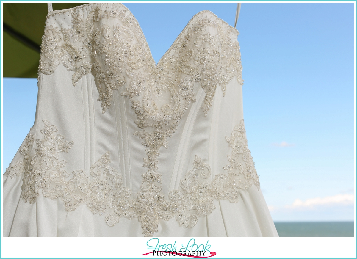 elegant sating wedding dress detail