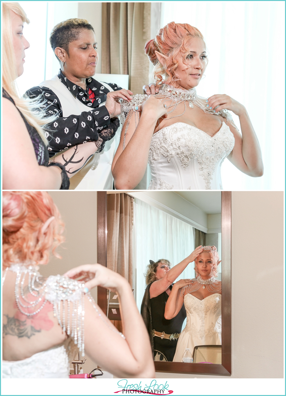 bride getting dressed for the wedding