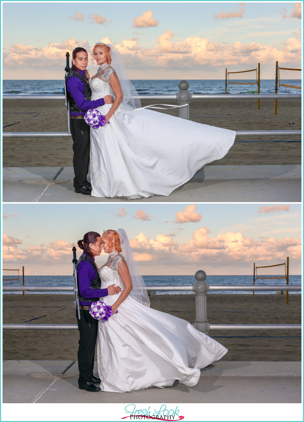 Beach pictures of the bride and groom