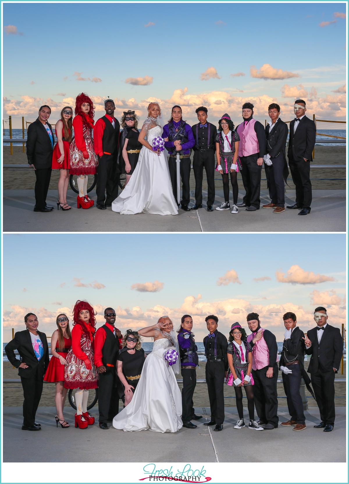 cosplay bridal party Virginia Beach oceanfront