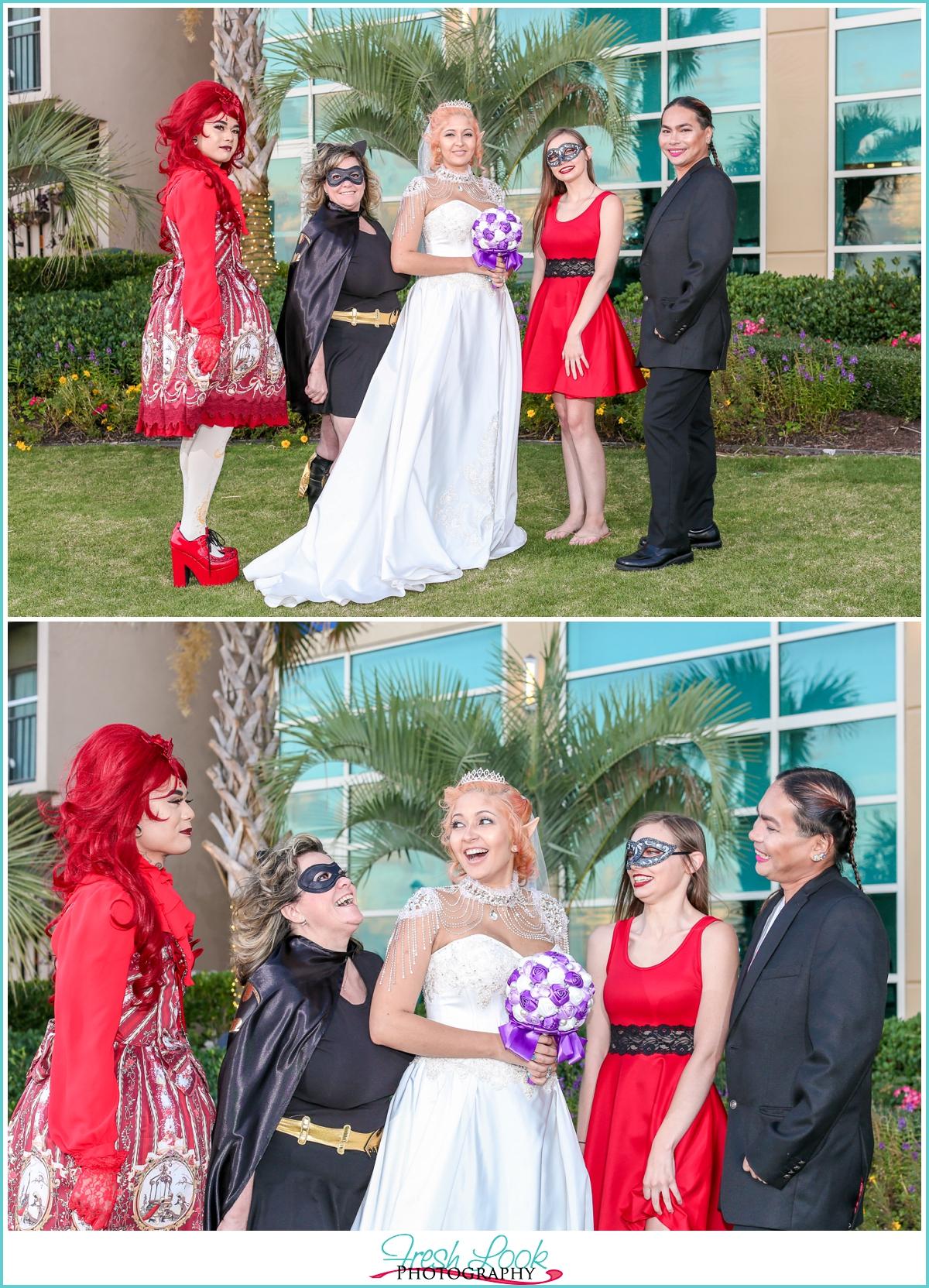 bride and cosplay bridesmaids