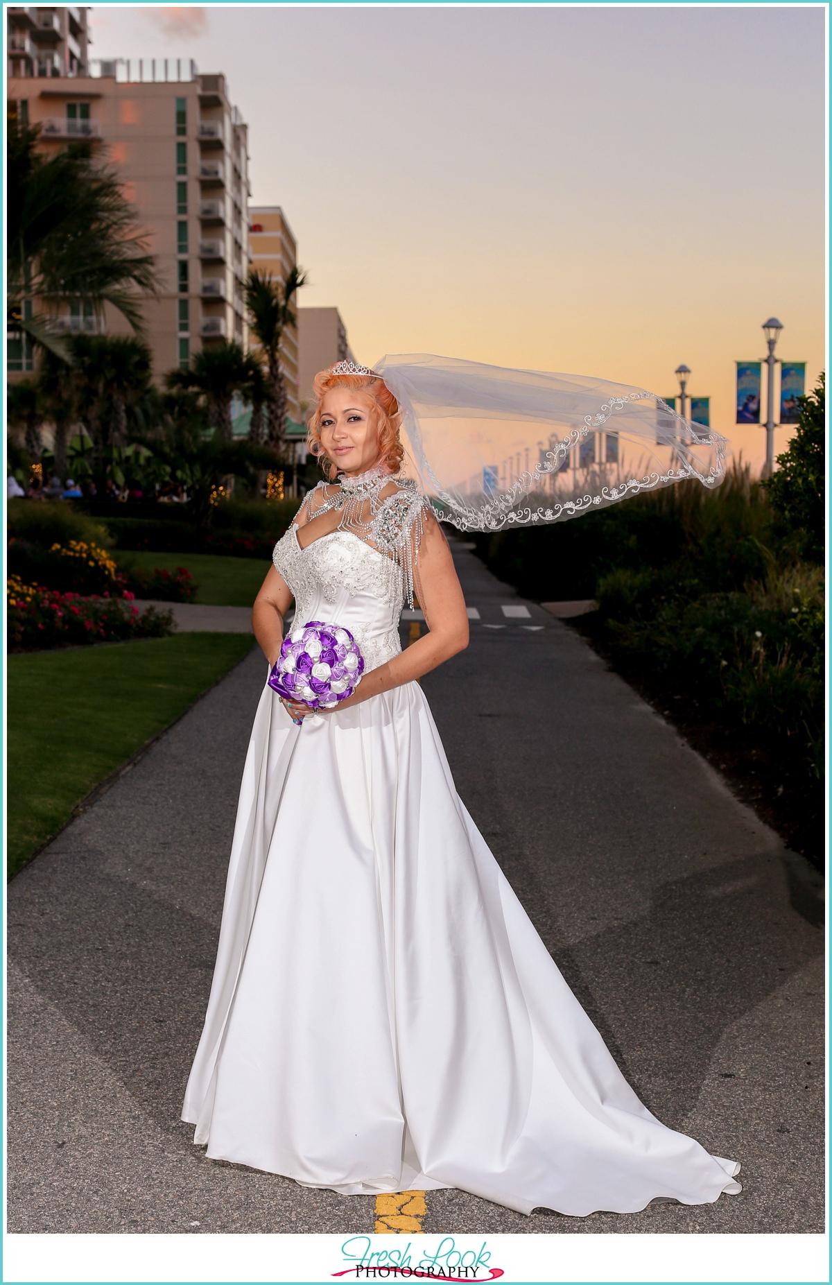 bridal portraits on Virginia Beach boardwalk