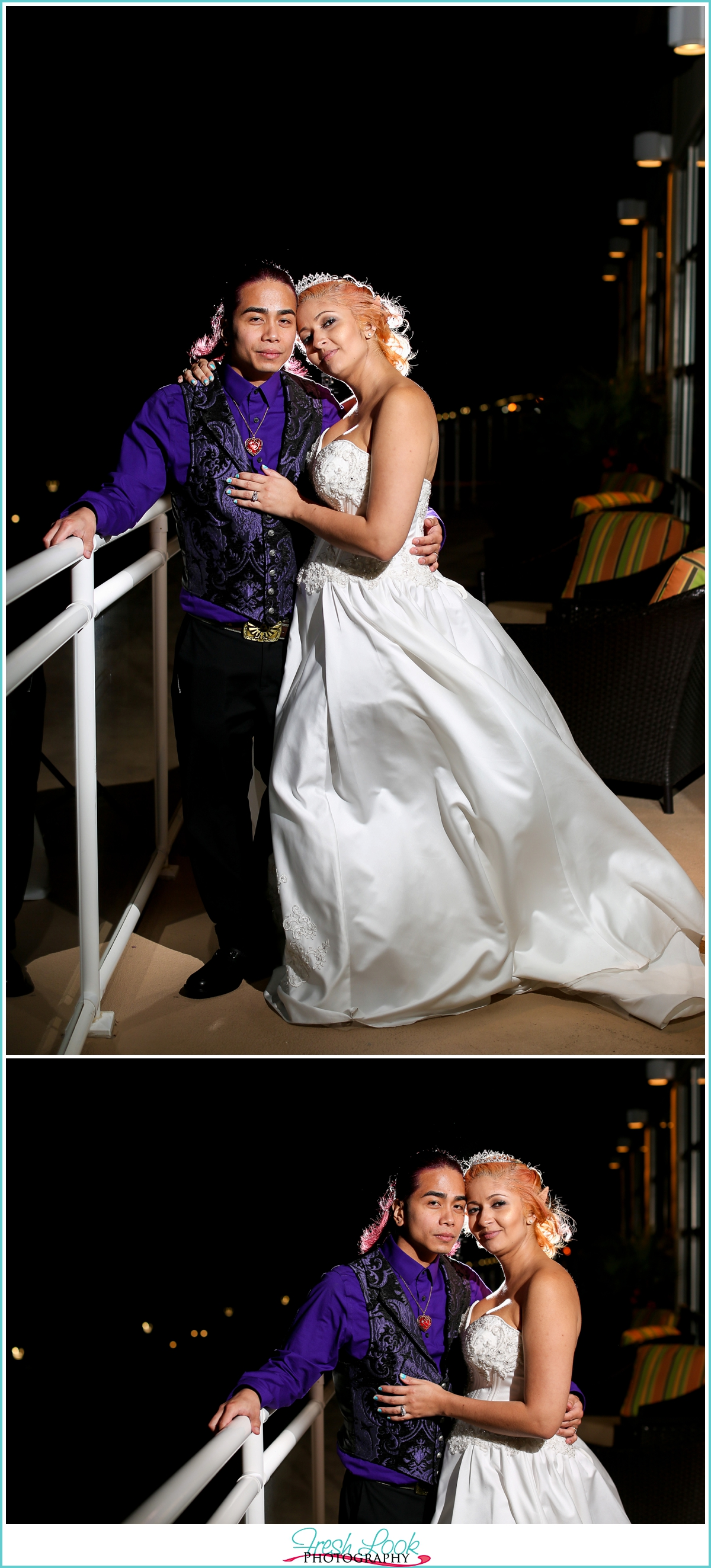 dramatic lighting with bride and groom