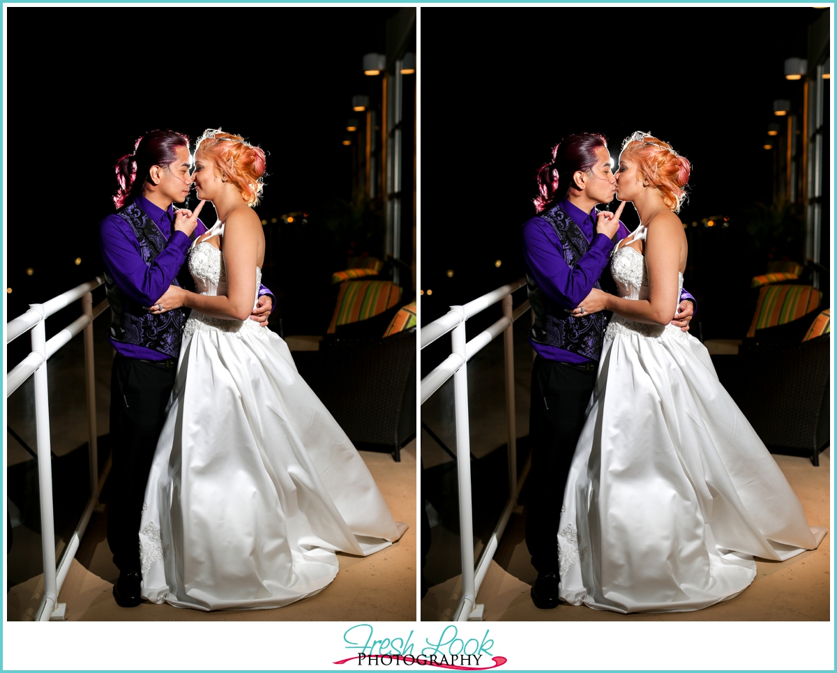 romantic wedding kiss at the end of the night