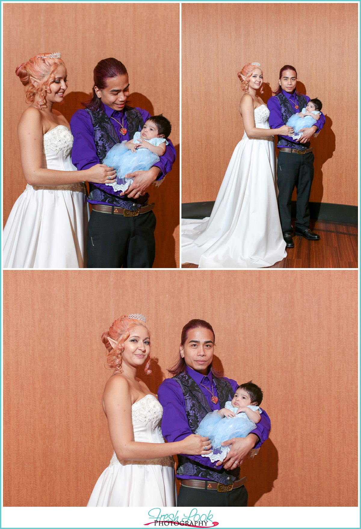 bride and groom with their baby